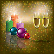 Abstract Christmas Greeting With Champagne And Candles stock illustration