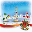 Abstract Christmas Greeting With Snowmen And Tree