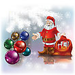 Abstract Christmas White Greeting With Santa And Gifts
