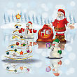 Abstract Christmas White Greeting With Snowmen And Santa Claus