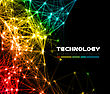 Abstract Colorful Network Data Connection. Vector Technology Background On Black