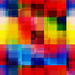 Abstract Colorful Seamless Background. Bright Colored Overlapping Rectangles Create Rainbow Blurred Pixels Effect Pattern stock vector
