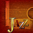 Abstract Cracked Jazz Music Background With Acoustic Guitar