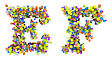 Abstract Cubes Font E And F Letters Isolated Over White
