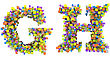 Abstract Cubes Font G And H Letters Isolated Over White
