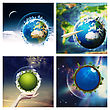 Abstract Environmental Backgrounds Set With Earth Globe For Your Design. NASA Imagery Used