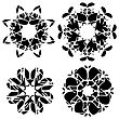Abstract Geometric Black Ornaments Isolated On White Background