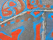 Weathered Abstract graffiti on wall stock photography