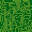 Abstract Green Background With Conductor On Computer Circuit Board. Vector Illustration. Seamless Pattern