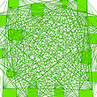 Abstract Green Line Background. Fine Squares And Chaotic Lines Structure On White Background