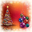 Abstract Grunge Background With Christmas Tree And Decorations