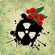 Abstract Grunge Background With Nuclear Hazzard Sign stock illustration