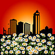 Abstract Illustration With Flower And Urban City Background