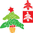 Abstract Merry Christmas Card - Christmas Tree Is Made Of Letters