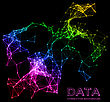 Abstract Network Connection. Vector Technology Background On Black