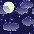 Abstract Night Sky Background With Clouds, Moon And Stars. Seamless Pattern.