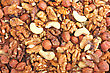 Abstract Nuts Background. Yellow-brown Palette. Close-up. Studio Photography