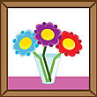 Abstract Picture Frame With Vase And Flowers. Vector Illustrations.