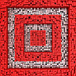 Abstract Quadrates Made From Matrix Of Red Cubes