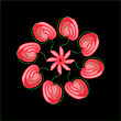 Abstract Red Flowers In A Circle On A Black Background