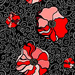Abstract Red Poppies. Seamless Pattern Vector Illustration
