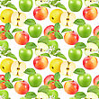 Abstract Seamless Pattern With Apples, Flowers And Green Leafs Isolated On White Background. Close-up. Studio Photography