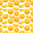 Abstract Seamless Pattern With Full And Slices Of Oranges. Isolated On White Background. Close-up. Studio Photography