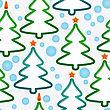 Abstract Seamless Pattern With Holidays Christmas-trees And Snowflakes. Vector Illustration.
