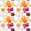 Abstract Seamless Pattern Of Multicolored Fresh Onions. Isolated On White Background. Close-up. Studio Photography