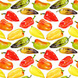 Abstract Seamless Pattern Of Multicolored Fresh Peppers. Isolated On White Background. Close-up. Studio Photography stock photography