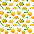 Abstract Seamless Pattern With Oranges-fruits And Green Leafs On White Background. Close-up. Studio Photography