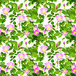 Abstract Seamless Pattern With Pink Flowers, Buds And Green Leafs Of Dog-rose. Isolated On White Background. Close-up. Studio Photography
