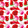 Abstract Seamless Pattern With Pink Flowers And Buds Of Roses. Isolated On White Background. Close-up. Studio Photography