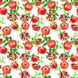Abstract Seamless Pattern With Red Pomegranates And Green Leafs. Isolated On White Background. Close-up. Studio Photography stock photography