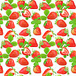 Abstract Seamless Pattern With Red Strawberries And Green Leafs Isolated On White Background. Close-up. Studio Photography