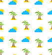 Abstract Seamless Pattern With Tropical Palm Trees, Sun And Clouds. Summer Background. Endless Print Texture. Fabric Design. Wallpaper - Vector