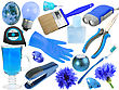 Abstract Set Of Blue Objects For Your Design Close-up Studio Photography stock photo