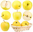 Abstract Set Of Fresh Yellow Apples For Your Design Close-up Studio Photography