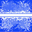 Abstract Spattered Blue Background With White Flowers stock vector