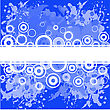 Abstract Spattered Blue Background With White Rings stock illustration