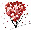 Abstract Stylized Valentines Day Tree With Hearts, Vector Illustration