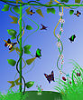 Abstract Summer Landscape With Flowers And Butterflies stock photo