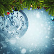 Abstract Xmas Backgrounds With Old Watches And Christmas Decorations stock image