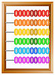 Accounting , A Rainbow Abacus For Financial Calculations Lies On A White Background
