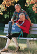 Active Senior Couple on Bench stock photography