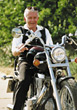 Active Senior on Motorcycle stock photography