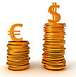 Advantage Of US Dollar Over Euro Currency. On White stock image