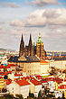 Aerial View Of Prague With St Vitus Cathedral As Seen From Petrin Hill stock image