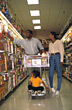 African American Family Grocery Shopping stock image