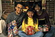 African-American Family on Christmas stock photography